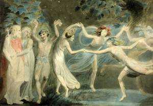 William Blake, Oberon, Titania and Puck with Fairies Dancing (c. 1785)