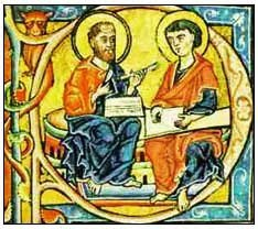 St Paul sharpens his quill, assistant rubs parchment with pumice stone  Colegio Santa Catalina de Bolonia